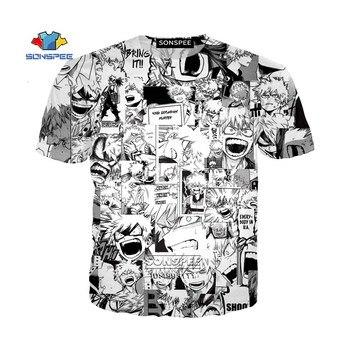 Funny Comics Anime My Hero Academia Bakugou Katsuki Cute Faces 3D Print Mens T-shirt Casual Tshirt Harajuku Summer T shirt Tops