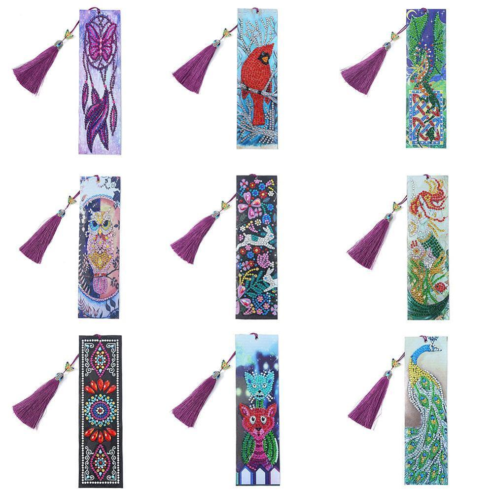 DIY Special Shaped Diamond Painting Bookmark Leather Embroidery Cross Stitch Tassel Bookmarks For Book Kids Christmas Gift