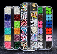 12 Grids  Nail Art Decorations Rhinestones Glitter 3D Nail Stones Beads Studs Flat Back Shiny Tips Nails Art Decorations