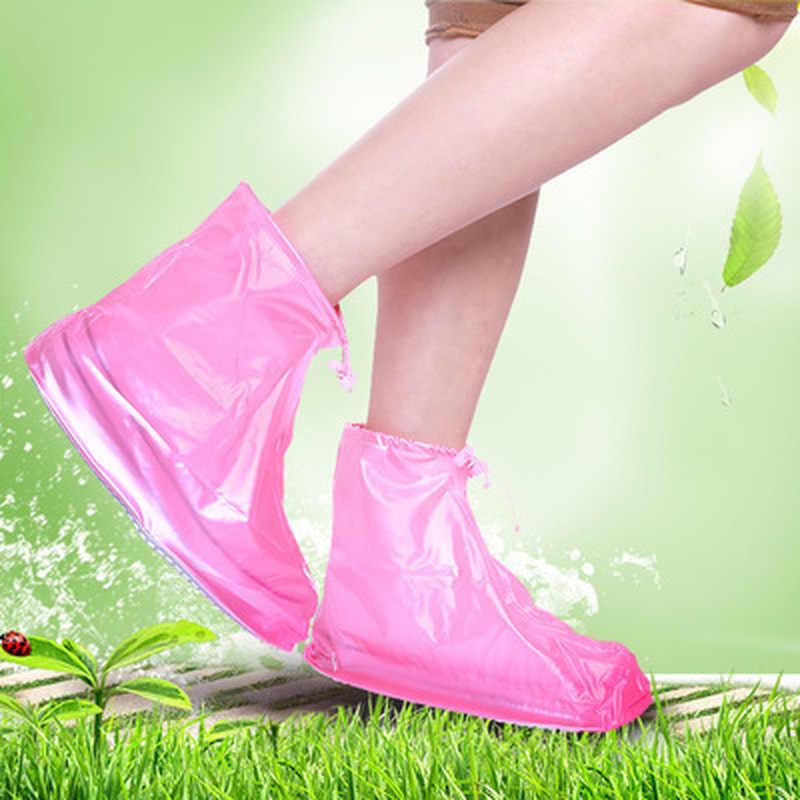 Gran oferta 1 par de zapatos protectores impermeables funda para botas Unisex con cremallera para lluvia fundas para zapatos antideslizantes