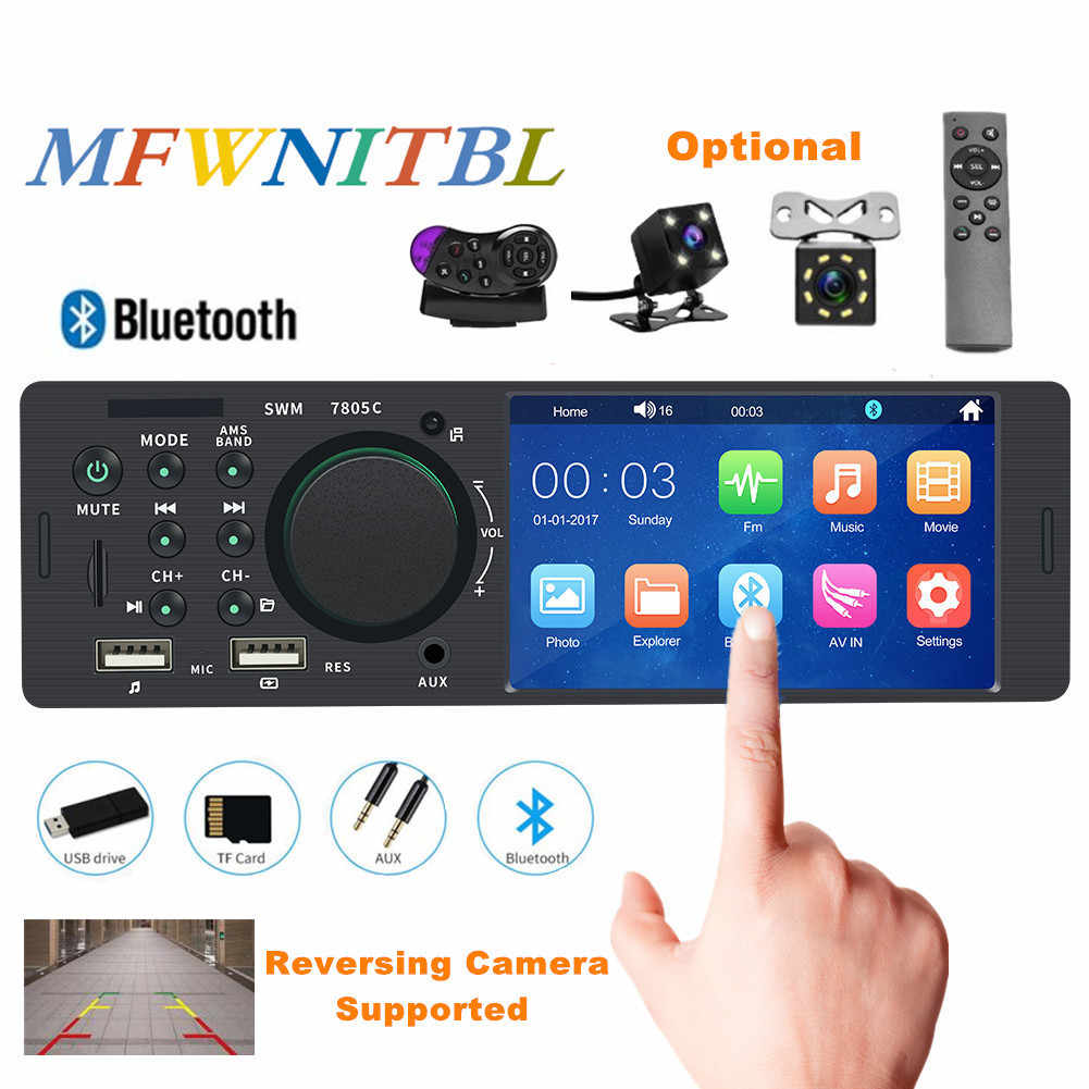 "4.1 ""Touch Screen Autoradio Bluetooth Autoradio 1 Din Audio Auto Stereo Auto Mp5 Multimedia Speler 12V Steering controle Camera"