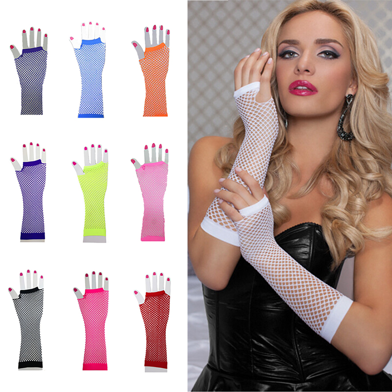2019 Hollow Out Punk Goth Lady Sexy Disco Dance Costume Lace Fingerless Mesh Fishnet Gloves Female Black Guantes Mujer Summer