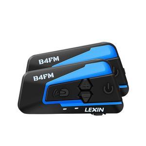 Lexin 4 maneiras bluetooth intercomunicador da motocicleta, capacete fone de ouvido com cancelamento ruído fm sem fio bt moto sistema comunicação b4fm