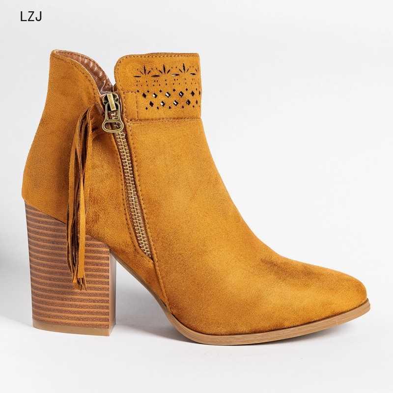 2019 Mới Thời Trang Da Bò Da Lộn Cổ Chân Giày Nữ Giày Nữ Thời Trang Nữ Giải Trí Boot Nữ Giày Boot Dropshipping Size 43