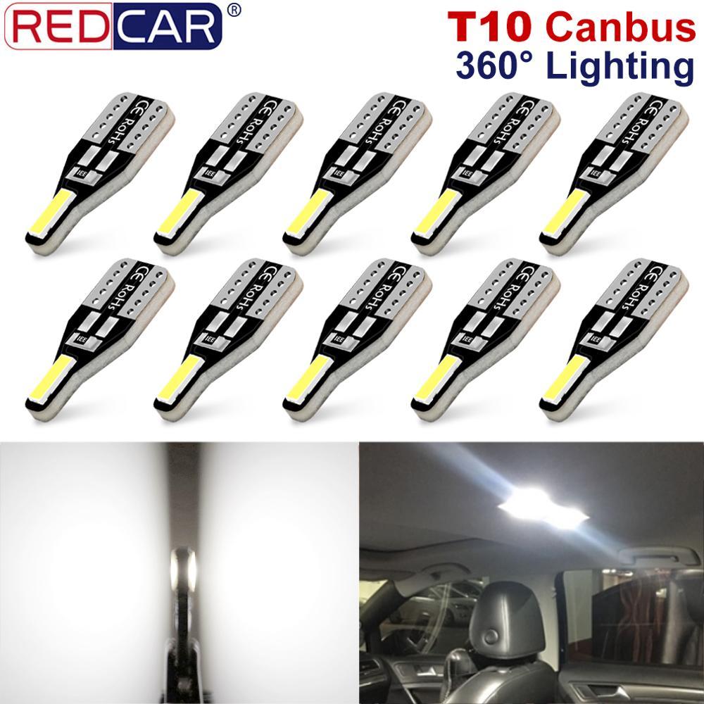 10pcs T10 W5W Led Bulb Canbus Error Free Super Bright 194 168 Car Interior Lights Reading Map Dome Lamp 6000K White Auto Bulb