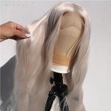 Remy luz de color gris de la onda de agua 13*6*1 transparente frente de encaje pelucas de cabello humano Pre arrancado brasileño para las mujeres con el pelo del bebé