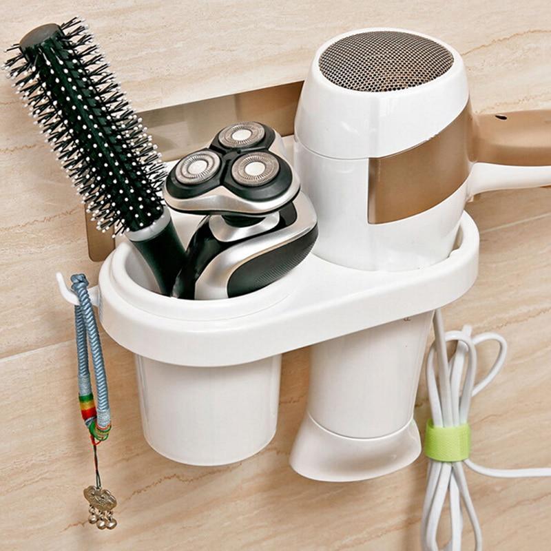 Magia quente nenhum traço adesivos de armazenamento fixado na parede cremalheiras criativo ventosa secador de cabelo titular pente rack suporte do banheiro suprimentos