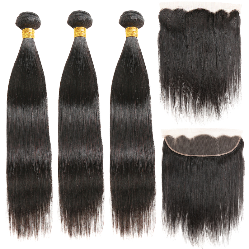 Brazilian Straight Human Hair Bundles With Frontal 13x4 SOKU 3PCS Human Hair Weave Bundles With Closure Non Remy Hair Extension