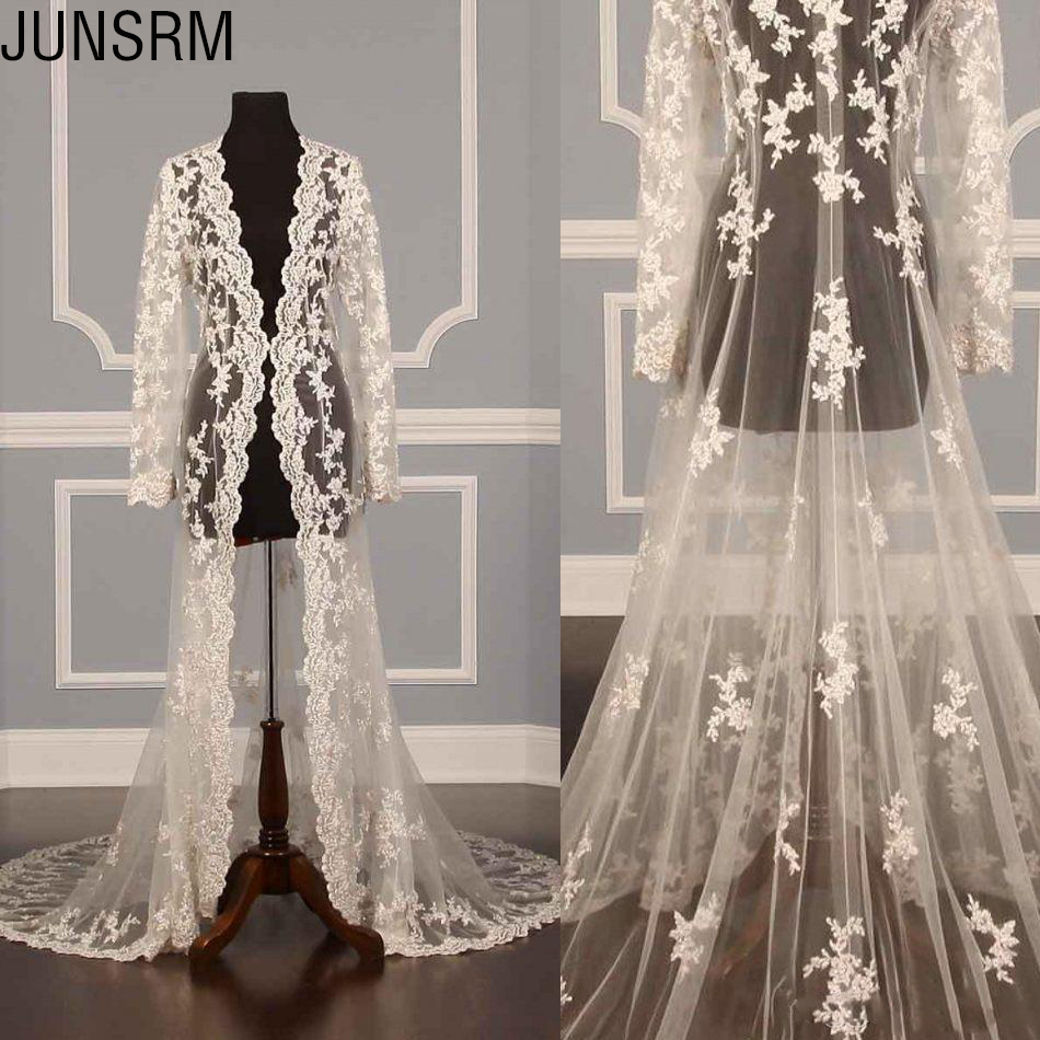 2019 New Design Lace Bridal Jackets Coat For Wedding Dress Long Sleeve See Through Lace Bride Capes Wraps