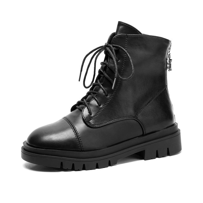 Осенне-зимние популярные модные женские ботинки в британском стиле средней длины женские мотоциклетные ботинки на молнии сзади маленькие ...