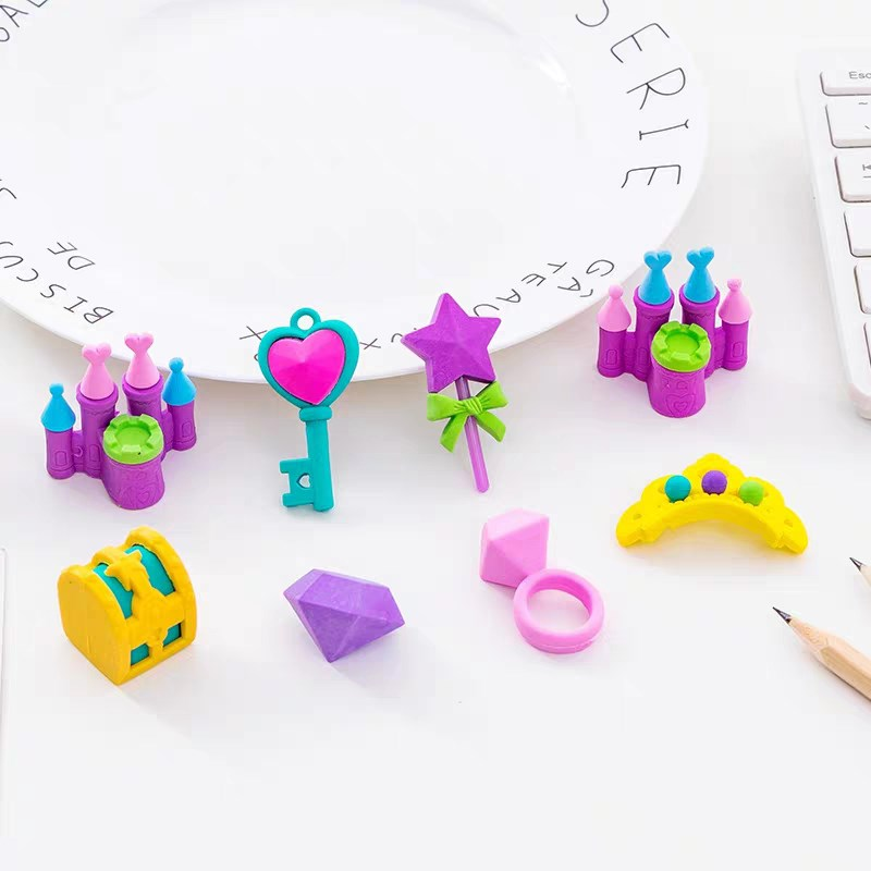 1 Pack Cartoon Princess Castle Key Crown Box Rubber Erasers Cute Stationery School Student Supplies Gift For Kawaii Kids Eraser