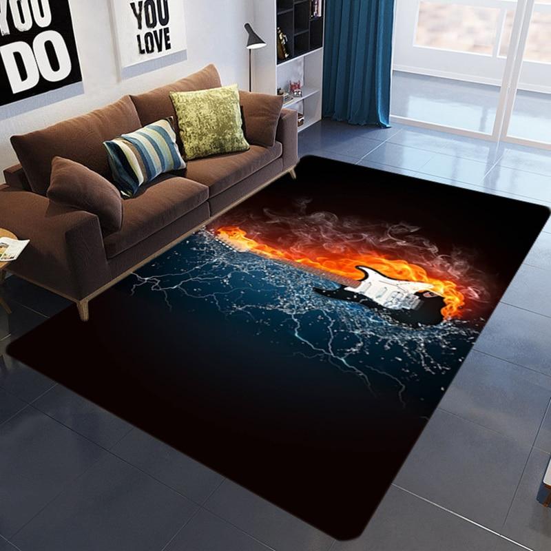 Music Living Room 3D Printed Carpet Guitar Drum Rug For Kids Room Abstract Flame Carpet Bedroom Living Room Anti-slip Floor Mat