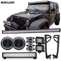 LED Light Bar Beam Mounting Brackets Steel+7' headlight+4inch foglight For uaz4x4 Hummer H1H2 SUV ATV Cars Jeep Wrangler JL JK