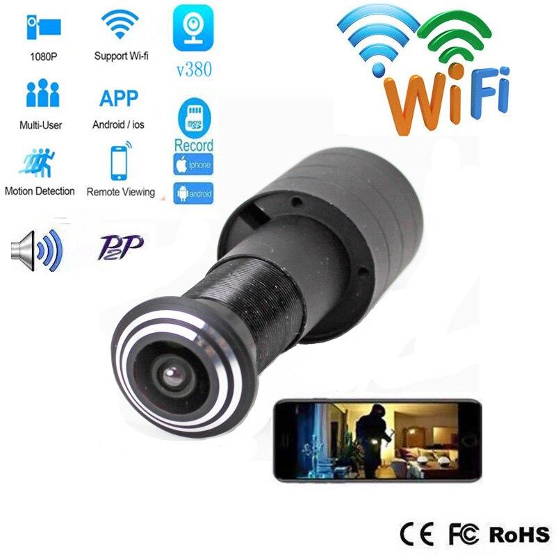 V380 Door Eye Hole Security 1080P HD  1.78mm Lens Wide Angle FishEye CCTV Network Mini Peephole Door WifI IP Camera P2P TF Card