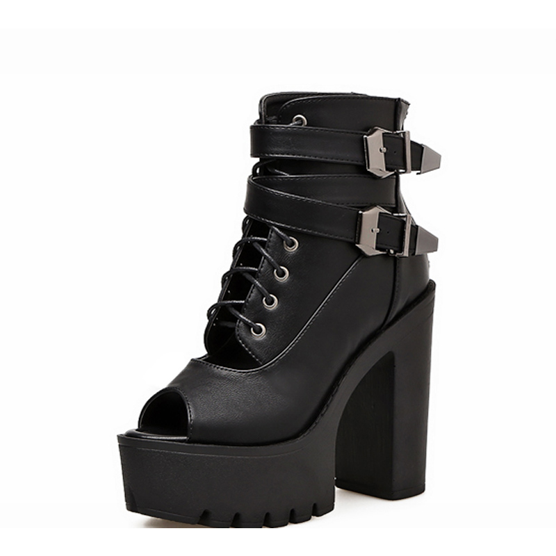 GBHHYNLH High Heels Women black leather ankle boots for women casual Shoes Woman fall Boots Peep Toe Platform boots LJA814 in Ankle Boots from Shoes