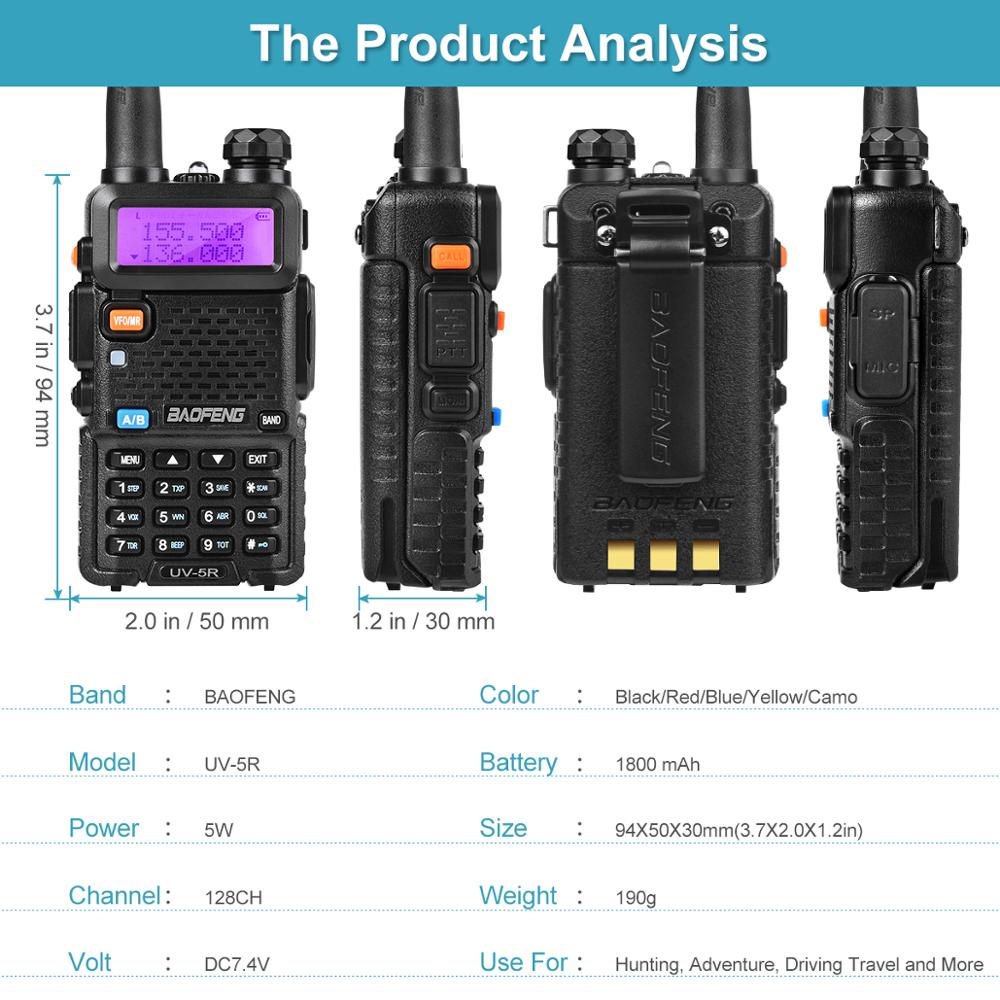 Baofeng UV-5R Ham Radio Dual Band 136-174Mhz & 400-520Mhz 5W Two Way Radio Walkie Talkie UV5R