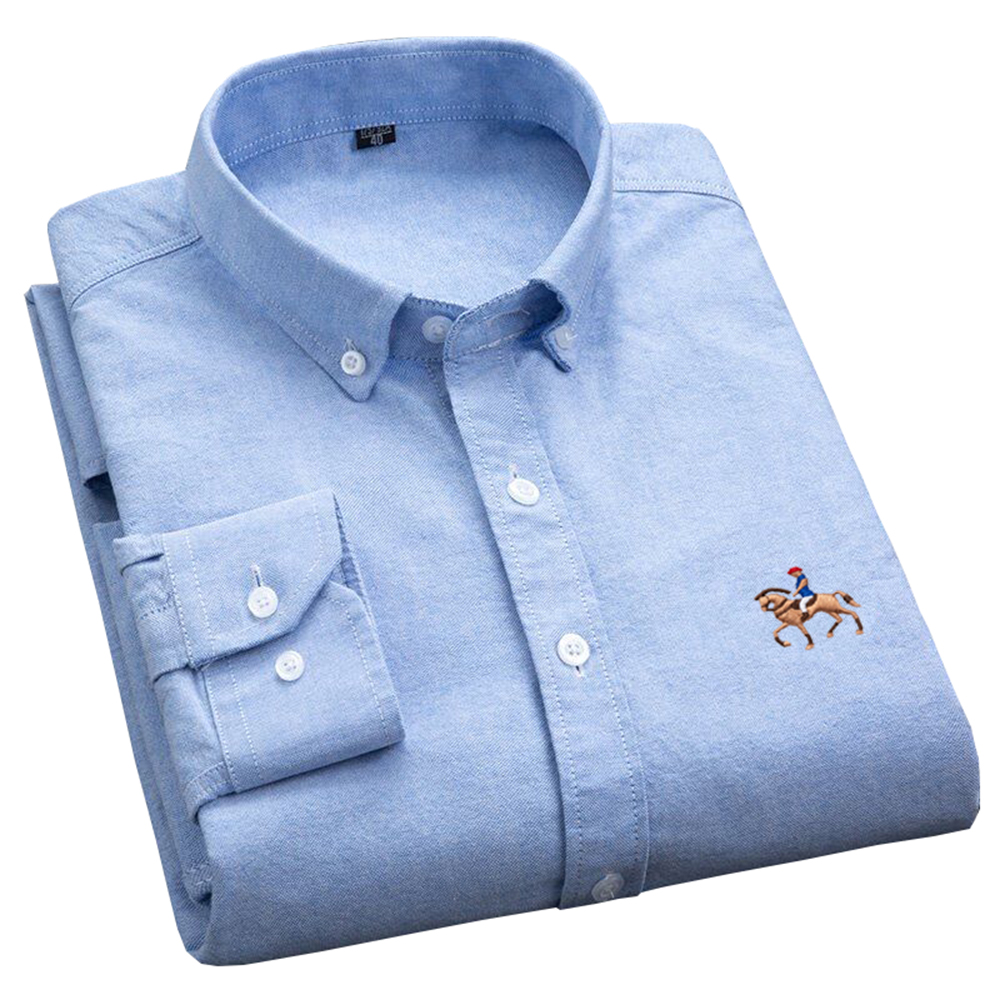 Man Oxford Shirts Long-Sleeve Casual Embroidery Logo Men's 100% Cotton Casual Slim-Fit Button Down Collar Blouse