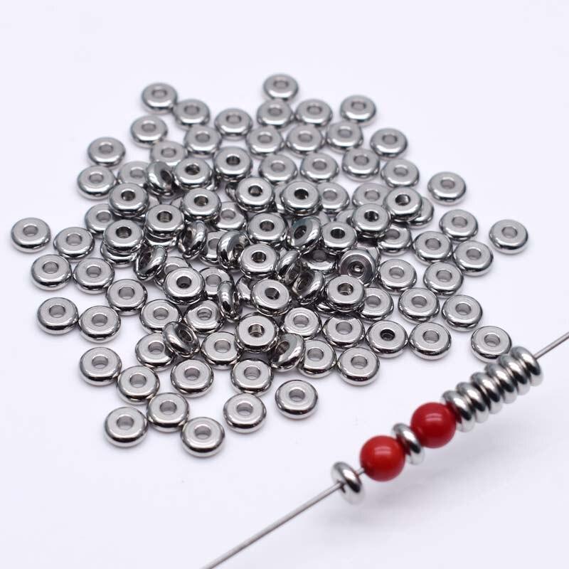 4 6 мм 304 бусины из нержавеющей стали гипоаллергенные металлические круглые свободные бусины для самостоятельного изготовления ювелирных и...
