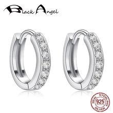 Серьги кольца женские круглые из серебра 925 пробы