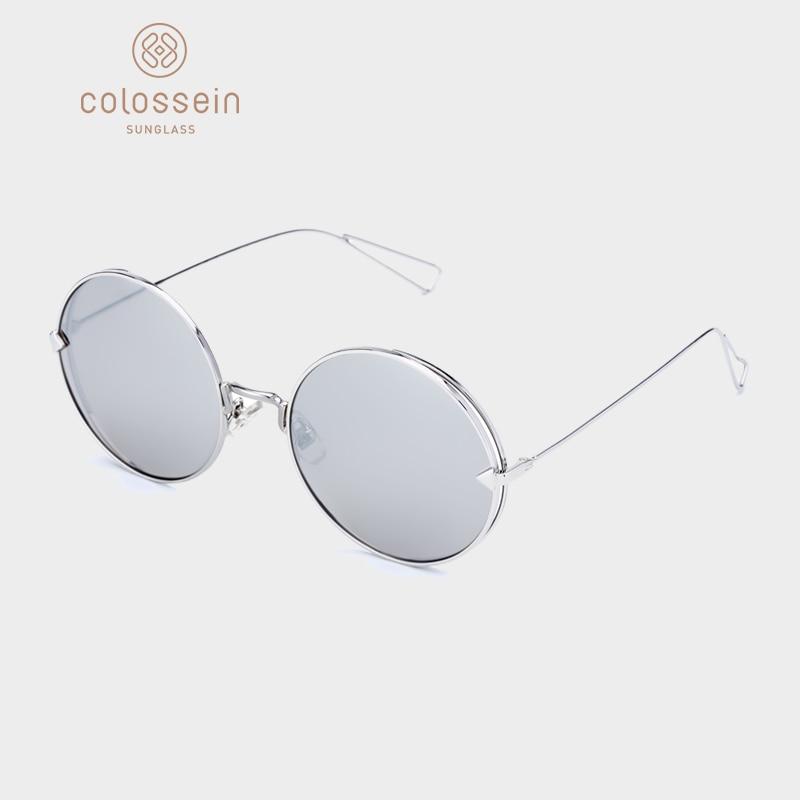 COLOSSEIN Sunglasses Women Men Vintage Round Sun Glasses Metal Frame Mirror Eyewear Women UV400 Classic Colorful Lens Glasses