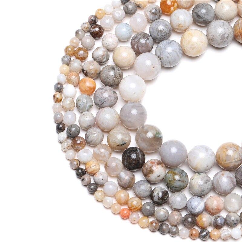 Wholesale Natural Stone Bamboo Leaf Carnelian Agates Round Beads 15