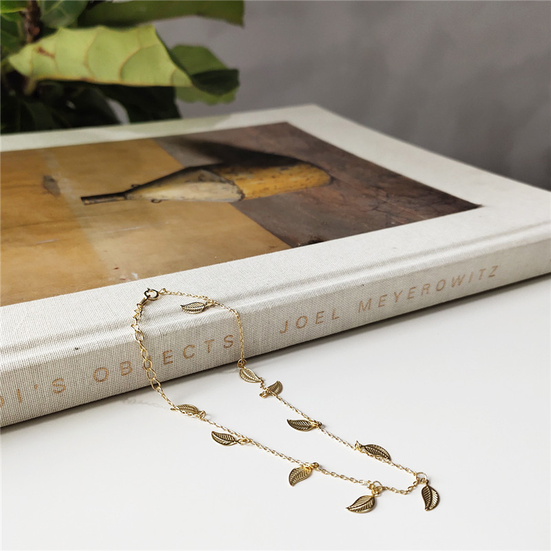RUIYI Real S925 Silver Women Stylish Delicate Summer Leaf Charm Anklets Female Niche Chic Gold Anklets Simple Ankle Bracelets