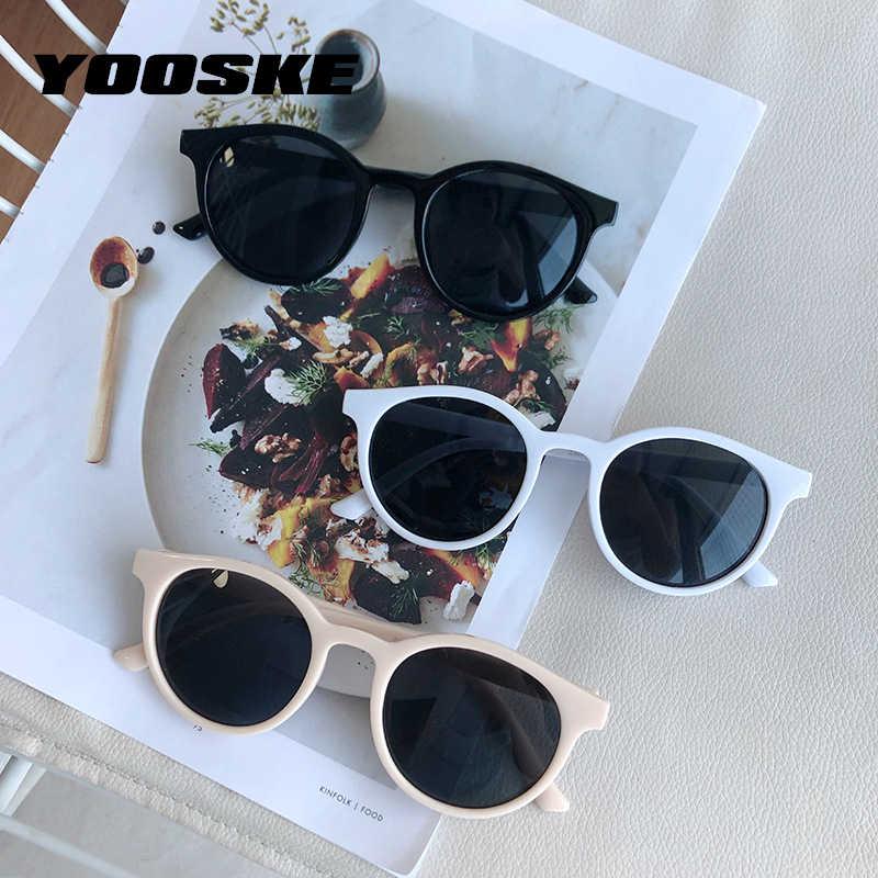 YOOSKE עגול משקפי שמש נשים מותג מעצב בציר קטן שמש משקפיים גבירותיי קוריאני סגנון גווני Eyewear