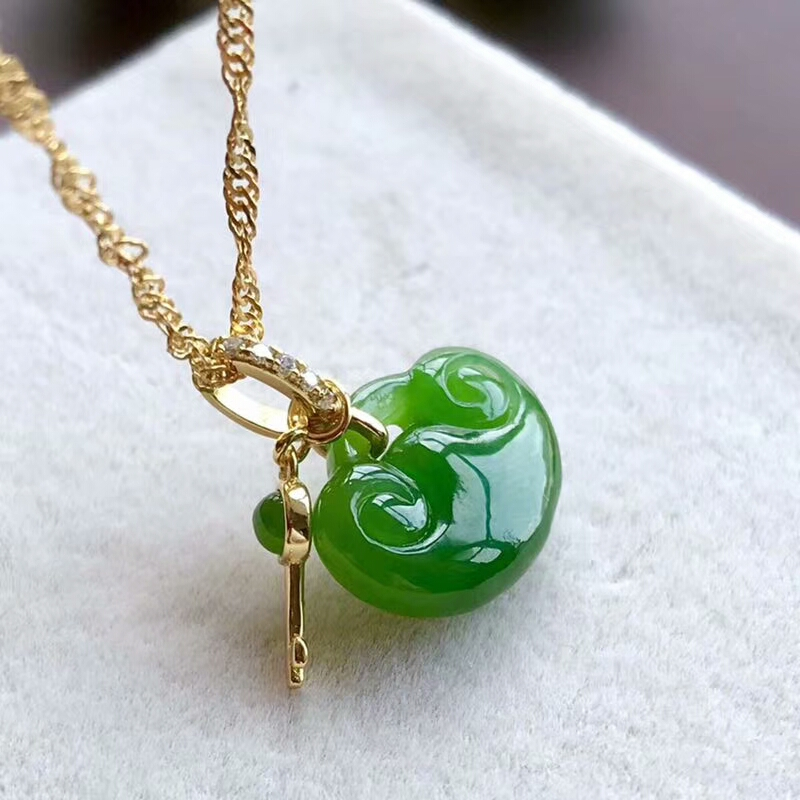 Beautiful Natural Green Jade Heart Inlay Lucky Link Bracelet Chain Girl/'s Gift