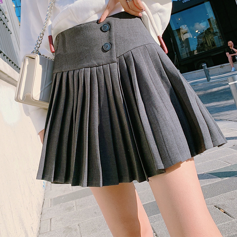 MISHOW 2019 Autumn Fashion Vintage Pleated Skirt Women High Waist Ziper Mini Skirt  MX19C1584
