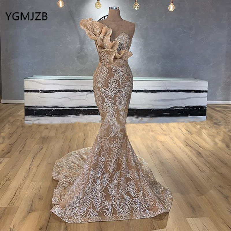 Glitter Sequin Long Evening Dresses One Shoulder Mermaid Champagne Saudi Arabic Evening Gown Formal Prom Dress Robe De Soiree
