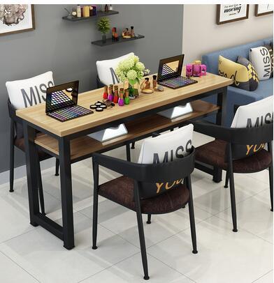 Маникюрный Стол и стул набор простой современный двойной черный маникюрный магазин стол специальная цена ретро Маникюрный Стол одиночный - Цвет: 140 cm 4chairs
