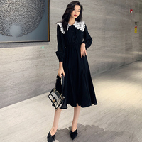 XL 4XL Plus Size Women Vintage Black A Line Dress Autumn 2019 Lace Peter Pan Collar Long Sleeve Loose Casual Ladies Midi Dresses