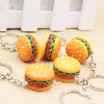 1pc Mini Cute Resin Simulation Food Key Chains Bags Car Key Ring Holder Burger Keychains Bag Pendant Bag Accessories image