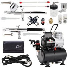 OPHIR 2x Dual Action Airbrush Kit Air Tank Compressor with Splitter for Hobby Model Painting Tattoo Body Art AC115+004A+074+038