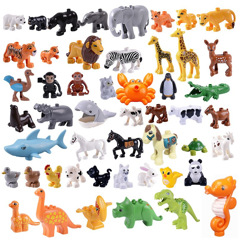 For Lepins Duploes Animals DIY Toys House Series Giraffe Dinosaurs Lion Horse Big Figures Model Building Blocks Toy For Children