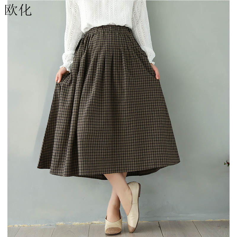 Vintage High Waist   Wide     Leg     Pants   2020 Spring Autumn New Oversize Plaid Cotton Linen Midi Trousers Retro Elasticated Waist Skirt