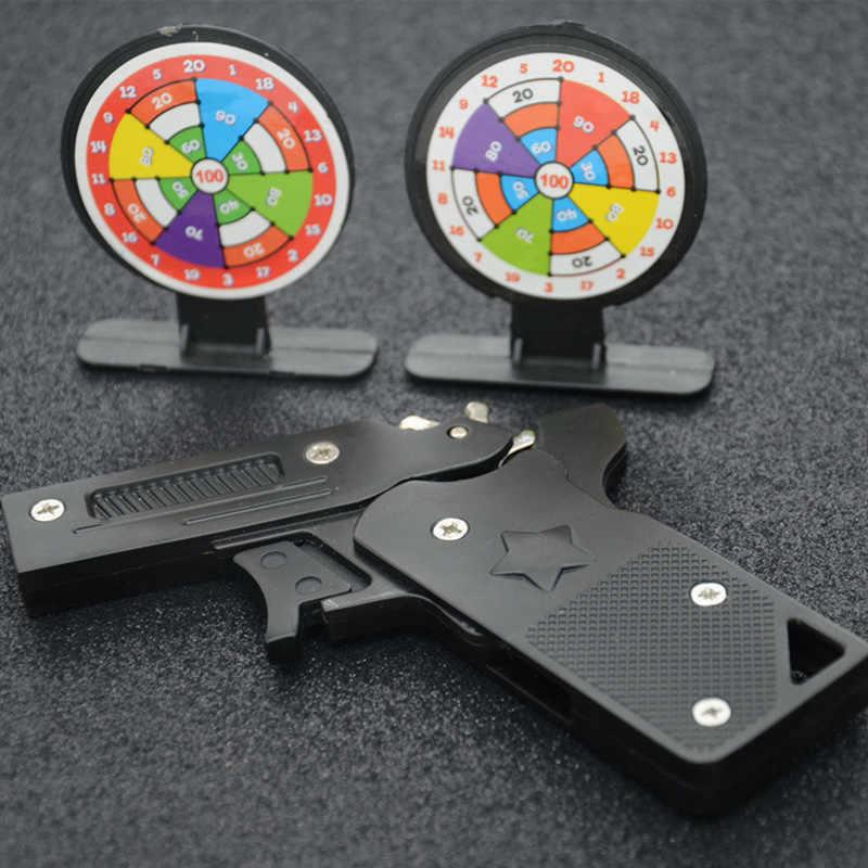 Składane gumowe opaski ze stali nierdzewnej pistolet ręczny pistolet pistolety strzelanie zabawki prezenty chłopcy zabawy na świeżym powietrzu sport dla dzieci