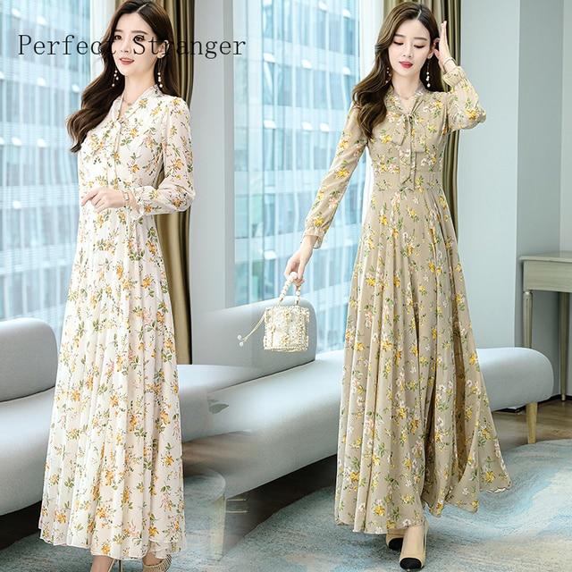 2020 Autumn  New Arrival High Quality Plus Size S-4XL Bow Collar Flower Printed Long Sleeve Women Long Chiffon Dress 4