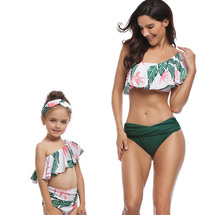 Mother Daughter Matching Clothes Outfits Swimsuit Mother Daughter Summer Beach Matching Swimsuit Tropical Print Family Swimwear fashion mother daughter matching girl womens sleeveless palm leaves print swimwear children hat swimsuit bikini set