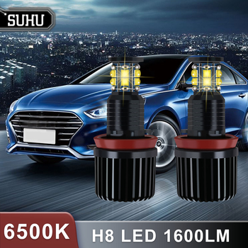 SUHU 2Pcs 120W H8 LED Angel Eyes Halo Ring Light Bulbs 6500K 1600LM for BMW E92 E93 E63 E70 Canbus Car Headlight Car Accessories image