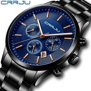 Image 1 - CRRJU New Fashion Men Watch Classic Business Multifunction Chronograph Quartz Wristwatch Casual Waterproof Stainless Steel Clock