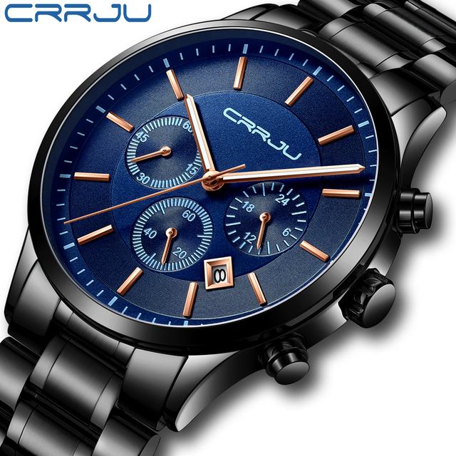 CRRJU New Fashion Men Watch Classic Business Multifunction Chronograph Quartz Wristwatch Casual Waterproof Stainless Steel Clock