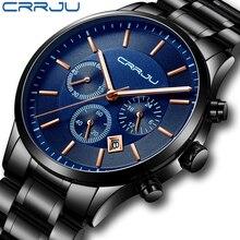 Crrju nova moda relógio masculino clássico negócios multifunções cronógrafo quartzo relógio de pulso casual à prova dwaterproof água aço inoxidável