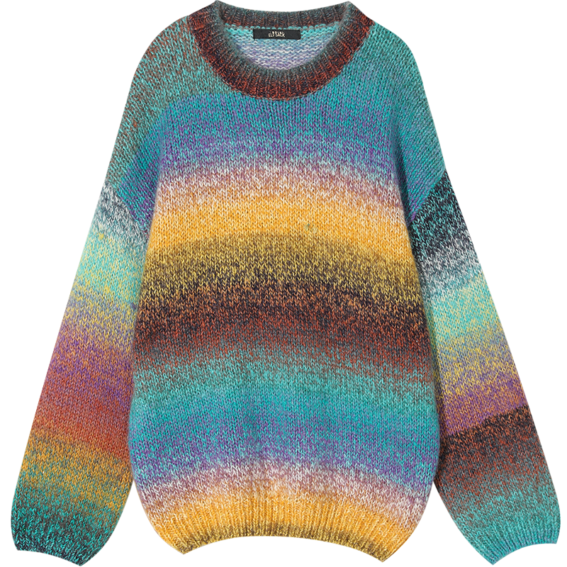 ELFSACK Rainbow Color Striped Women Sweater.19 Winter Fashion Sweet Gradient Ramp Knitted Tops Mohair Oversize Autumn Clothing 16