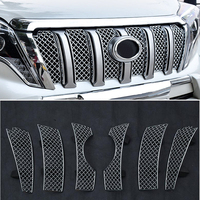 For Toyota Land Cruiser Prado FJ150 2014 2017 Stainless Steel Insect Screening Front Middle Grille Grill Molding Garnish Cover