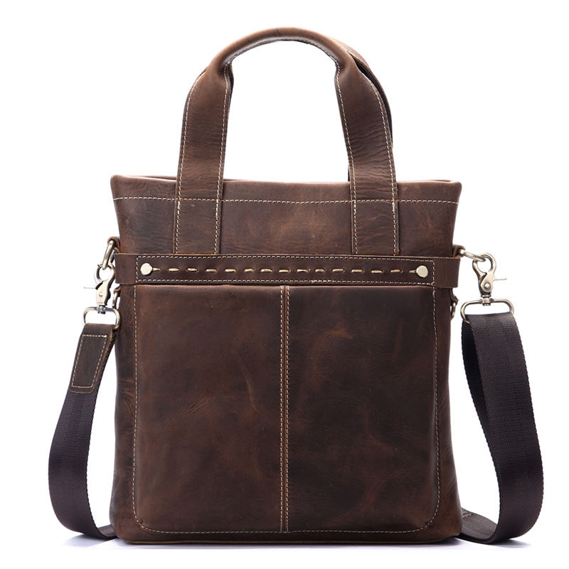 Nesitu High Quality Vintage Brown Genuine Crazy Horse Leather Men Briefcase Portfolio Business Shoulder Messenger Bags M8029-2