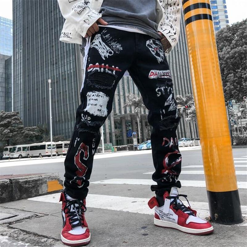 High Street Hole Retro Graffiti Black Skull Jeans Men's Original Straight Slim Punk Pants Calca Masculina Denim Trousers  M--XXL