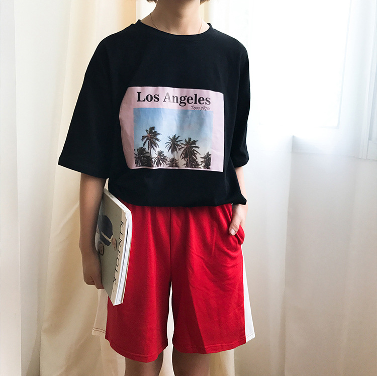 Spring And Summer Autumn <font><b>Children</b></font> Harajuku <font><b>BF</b></font> Style Loose-Fit Shorts Summer Versatile Stripes Casual Pants Straight-Cut Natural image