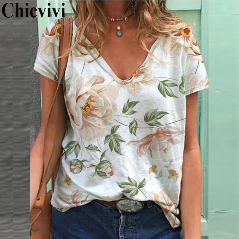 Fashion Women Plus Size V-Neck Short Sleeve Floral Print Casual Blouse Top