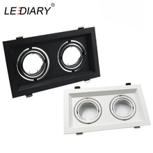 LEDIARY Grille Light Double Three LED Downlight Frame Fixtures MR16 Fitting 12-260V Recessed GU10 Bulb Replaceable Downlights